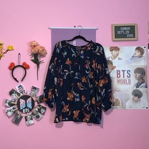a.n.a loose floral top with bell sleeves